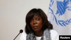 유엔 산하 국제기구인 세계식량계획(WFP) 어서린 커즌 사무총장이 2일 아프가니스탄 수도 카불에서 기자회견을 진행하고 있다.