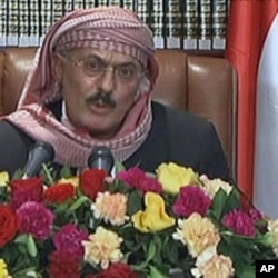 A grab taken from Yemen's state television station shows Yemeni President Ali Abdullah Saleh addressing the nation from Sana'a September 25, 2011.