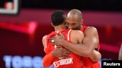 Kobe Bryant et Russell Westbrook, Toronto, Canada, le 14 f[vrier 2016. (Reuters)
