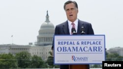 U.S. Republican Presidential candidate Mitt Romney gives his reaction to the Supreme Court's upholding key parts of President Barack Obama's signature healthcare overhaul law in Washington June 28, 2012. Romney said on Thursday that the American people mu