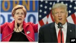 Senator AS Elizabeth Warren, anggota partai Demokrat dari Massachusetts (kiri) dan Capres AS unggulan partai Republik, Donald Trump (Foto: dok).