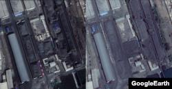 지난달 14일 촬영된 남포 일대 위성사진(왼쪽)과 지난해 5월 위성사진을 비교한 모습. 야적장에 외벽이 들어서고, 더 많은 석탄이 쌓인 사실이 확인된다. (사진출처=CNES/Airbus, Google Earth)