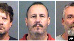 This combination of Oct. 14, 2016, file booking photos provided by the Sedgwick County Sheriff's Office in Wichita, Kan., shows from left, Patrick Stein, Curtis Allen and Gavin Wright, three members of a Kansas militia group who were charged with plotting
