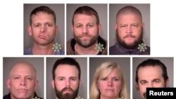 Ryan Bundy, Ammon Bundy, Brian Cavalier, Peter Santilli, Shawna Cox, Ryan Payne y Joseph O'Shaughnessy, los rancheros militantes de Oregon que fueron absueltos por cargos relacionados con la toma de un refugio silvestre en Oregon,