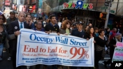 Gerakan Occupy Wall Street di New York pada 17 September 2011. (AP Photo/John Minchillo)