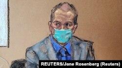 Derek Chauvin optuženi za ubistvo Georgea Floyda na sudskoj skici tokom iznošenja završnih riječi, 19. april 2021 (REUTERS/Jane Rosenberg)