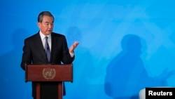 2019年9月23日中国国务委员兼外交部长王毅在纽约联合国总部举行的2019联合国气候行动峰会上发表讲话。