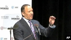 National Urban League President Marc Morial addresses a town hall meeting in Washington, where his organization released its annual report on the State of Black America, April 1, 2011