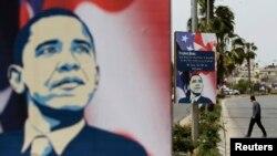 바락 오바마 미국 대통령이 19일 중동 순방에 나서는 가운데, 지난 12일 요르단강 서안 거리에 오바마 대통령을 환영하는 깃발이 걸려있다.