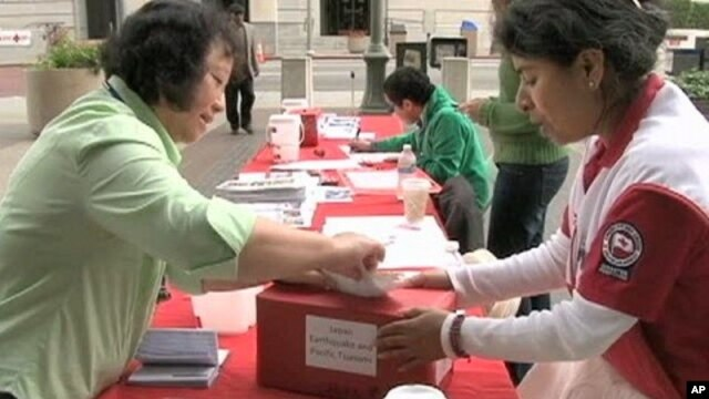 Red Cross donations table in downtown Los Angeles, California