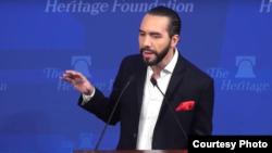 薩爾瓦多當選總統布克萊2019年3月13日美國智庫傳統基金會演講(傳統基金會網站截屏)