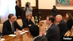 Sastanak predsednika Srbije Aleksandara Vučića i američkog podsekretara Davida Halea, kome je prisustvovao i ambasador SAD u Srbiji Kyle Scott, Beograd 7. mart 2019. (Foto: Twitter nalog Ambasade SAD u Srbiji)