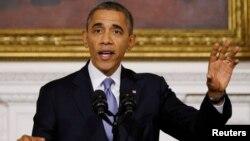 지난 17일 , 오바마 대통령이 연방정부의 부분적인 업무정지가 해제된 것에 대해 연설하고 있다.