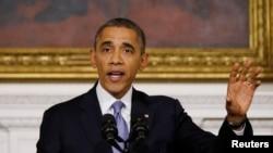 Tổng thống Hoa Kỳ Barack Obama phát biểu sau khi chính phủ mở cửa trở lại ngày 17/10/2013.