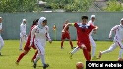 صحنهای از مسابقه تیم ملی فوتبال زنان ایران مقابل قرقیزستان