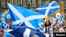 2014年9月18日苏格兰将举行是否脱离英国的全民公投。9月17日,格拉斯哥市支持独立的人士在进行最后的宣传,动员民众投票支持独立。