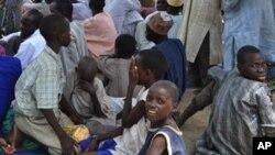 Wasu 'yan gudun hijira da suka arcewa daga garuruwansu a saboda hare haren 'yan Boko Haram.