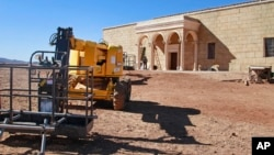 "Filming equipment is left outside the arched set for Pontius Pilate's palace in the TV series ""A.D."" in Ouarzazate, Morocco, Jan. 30, 2015."