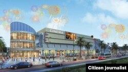 ຮູບຈຳລອງ ຂອງສູນການຄ້າວຽງຈັນ ຫຼື New World Plaza ທີ່ກຸ່ມບໍລິສັດ CAMCE Investment ຈຳກັດຈາກປະເທດຈີນ ເປັນຜູ້ລົງທຶນ ກໍ່ສ້າງ.