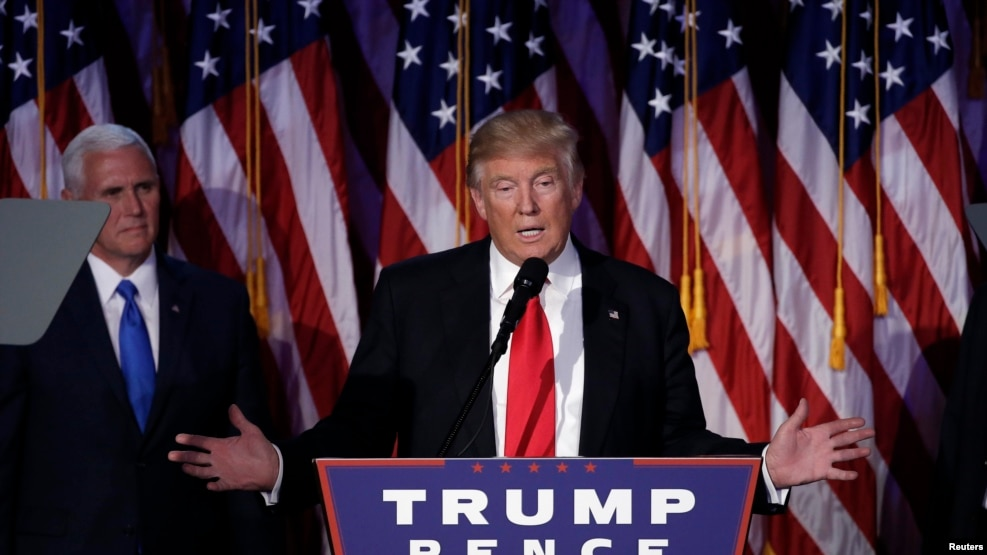 U.S. President-elect Donald Trump addresses supporters during his election night rally in Manhattan, New York, U.S., Nov. 9, 2016.