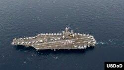 Hàng không mẫu hạm USS Washington của Mỹ ở Thái Bình Dương. Hoa Kỳ đã gia tăng đáng kể các chiến hạm và phi cơ được triển khai tại Châu Á.