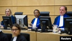 FILE - Judges of the International Criminal Court (ICC) are seen in session in The Hague, Netherlands, June 27, 2011.