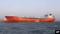 한국 전남 여수에 억류돼 있는 유류 운반선 '라이트하우스 윈모어' 호.