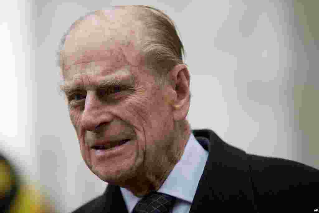 Britain's Prince Philip leaves after the Commonwealth Day Observance at Westminster Abbey, London, March 11, 2013.