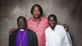 "From left, Bishop Christopher Senyonjo, filmmaker Roger Ross Williams and Rev. Kapya Kaoma from the film ""God Loves Uganda"" pose for a portrait during the 2013 Sundance Film Festival on January 20, 2013 in Park City, Utah."