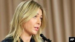 Maria Sharapova phát biểu trong cuộc họp báo ở Los Angeles, 7/3/2016.