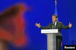 Nicolas Sarkozy, lors d'un meeting à Arras (nord de la France), le 18 avril 2012