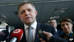Robert Fico chairman of the SMER-Social Democracy addresses media after a TV debate after Slovakia's general elections in Bratislava, Slovakia, March 6, 2016.