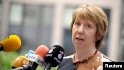 Kepala kebijakan luar negeri Uni Eropa Catherine Ashton dalam pertemuan di Brussels (15/8). (Reuters/Laurent Dubrule)
