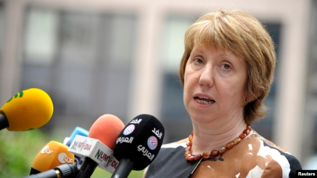 European Union foreign policy chief Catherine Ashton speaks during a meeting of European Union (EU) foreign ministers at the EU Council in Brussels, Aug.15, 2014.