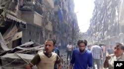 공습으로 파괴된 시리아 알레포 (자료사진)