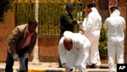 也門首都薩那星期一的自殺爆炸現場