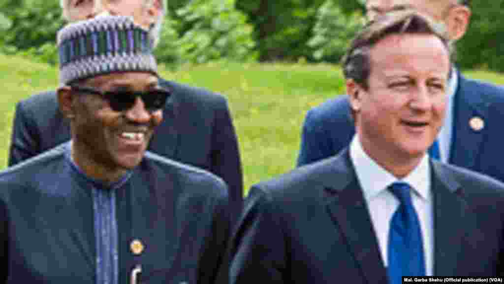 Shugaban Najeriya Muhammadu Buhari da Firayim Ministan Britaniya David Cameron a Taron G7, Munich, Yuni 8, 2015.