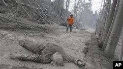 تهرمی یهک له قوربانیـیهکانی ئاکامی تهقینهوهی گڕکانهکهی چیای مێرهپی ئهندهنوسیا، ههینی 5 ی یازدهی 2010