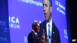 President Barack Obama speaks at the US - Africa Business Forum during the US - Africa Leaders Summit, Aug. 5, 2014, at the Mandarin Oriental Hotel in Washington.
