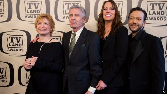 FILE - Bonnie Franklin, Pat Harrington Jr., Mackenzie Phillips and Glenn Scarpelli arrive to the TV Land Awards 10th Anniversary in New York, April 14, 2012.