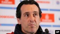 Unai Emery, l'entraîneur du Paris SG, le 11 mars 2017 (AP Photo/Michel Euler).