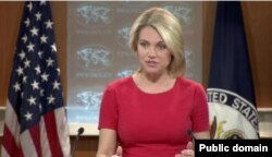 FILE - Spokesperson Heather Nauert leads the Department Press Briefing at the Department of State.