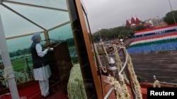 Thủ tướng Ấn Ðộ Manmohan Singh đọc diễn văn kỷ niệm Ngày Lễ Độc Lập của Ấn Độ tại New Dehli, 15 tháng 8, 2013.