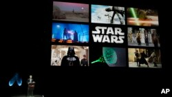 "Walt Disney Studios Chairman Alan Horn talks about the Winter 2015 release ""Star Wars: Episode VII"" during the Walt Disney Studios presentation on the third day of CinemaCon 2014 on Wednesday, March 26, 2014, in Las Vegas."
