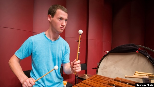 Percussionist Micheal Barnes, a member of the 2013 National Youth Orchestra of the United States of America rehearses with the orchestra at SUNY Purchase. (Photo courtesy Chris Lee)