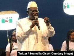 Le chef de file de l'opposition au Mali, Soumaïla Cissé, en campagne à Mopti (centre) pour l'élection présidentielle de dimanche, 26 juillet 2018. (Twitter/ Soumaïla Cissé)