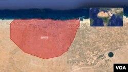 Peta kota Sirte, Libya, dimana serangan udara militer AS menargetkan ekstremis IS.