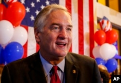 Sen. Luther Strange speaks to supporters as he concedes the Republican primary runoff for U.S. Senate to Roy Moore, Tuesday, Sept. 26, 2017, in Homewood, Alabama.