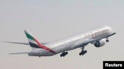 Pesawat Boeing 777-300 milik Emirates Airlines Boeing 777-300 dalam acara Dubai Airshow. (Foto: Dok)