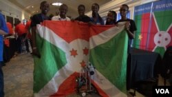 Burundi's robotics team is seen in this still image from video shot by Auriane Itangishaka of VOA's Central Africa Service at the the FIRST Global Robotics Challenge, July 19, 2017, in Washington.